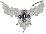 Halloween Costume Accessory Victorian Lace Necklace (White)