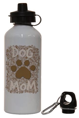 Dog Lovers Dog Mom with Paw Print White Aluminum 14 Ounce Water Bottle