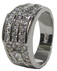 Women's Rhodium Plated Dress Ring Princess and Round Cut CZ 011