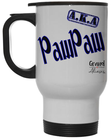 "Grand Aliases Series Grandfather ""A.K.A. PawPaw"" 12 Ounce Hot/ Cold White Travel Coffee Mug"