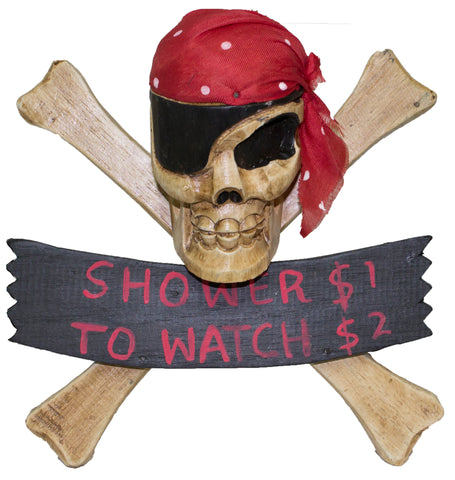 Funny Hand Made Wooden Pirate Skull & Crossbones Shower Sign (Red)