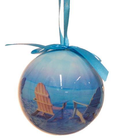 "3 Inch ""Beach Chairs"" Christmas High Gloss Resin Ball Ornament"