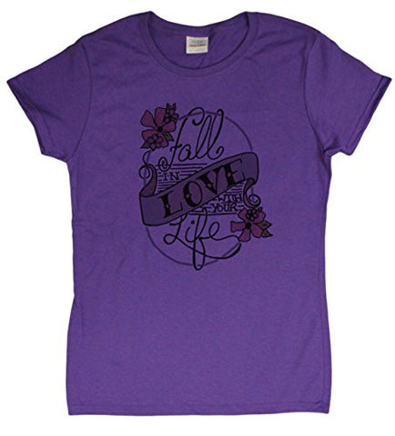 "Ladies ""Fall in Love"" Hand Drawn Tattoo Style T-Shirt"