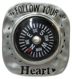 Let Love Be Your Guide Compass Pocket Charm With Story Card (Follow Your Heart)