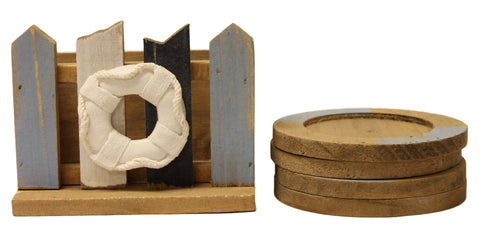 Set of Four Nautical Life Ring Coasters in Decorative Picket Fence Holder