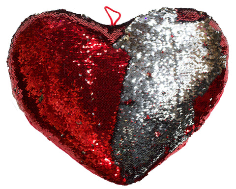 15 Inch Heart Shaped Color Changing Sequin Pillow