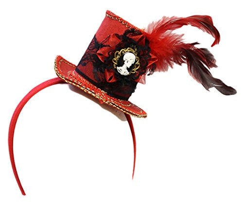 "3.5"" Fancy Mini Red Macabre Lace Top Hat Headband with Skeleton Cameo"