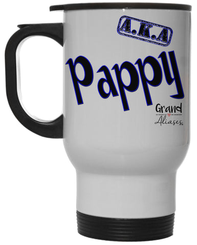 "Grand Aliases Series Grandfather ""A.K.A. Pappy"" 12 Ounce Hot/ Cold White Travel Coffee Mug"