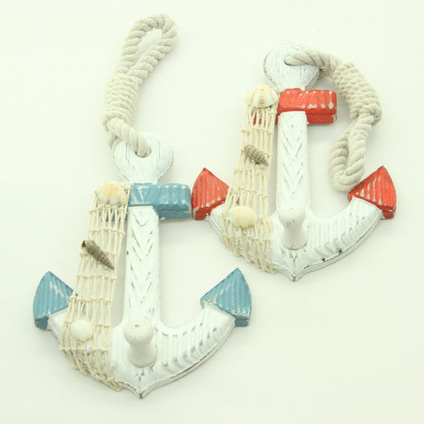 Set of 2 Wood Anchor Wall Hooks - Nautical Decor - New