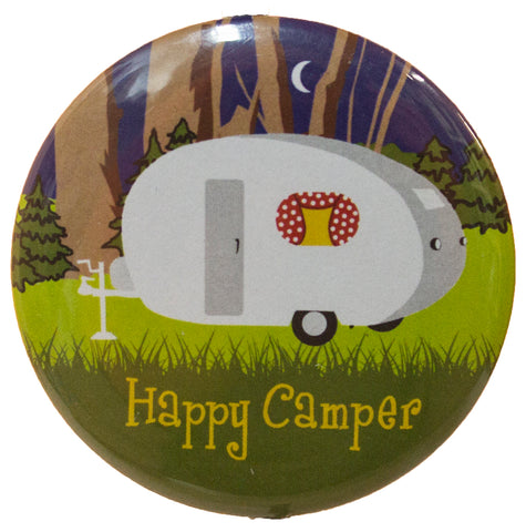 "2 Inch Button Shaped ""Happy Camper"" Magnetic Bottle Opener"