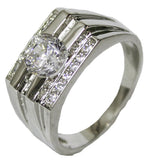 Men's Rhodium Plated Dress Ring Oval Cut CZ 080