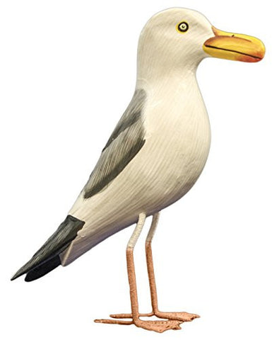 Nautical Decoration Hand Made Wooden Seagull Figurine, 10 Inches Tall