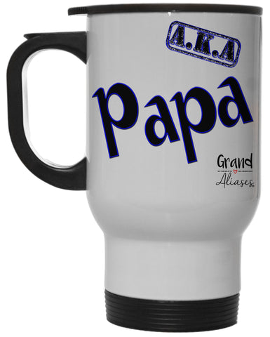 "Grand Aliases Series Grandfather ""A.K.A. Papa"" 12 Ounce Hot/ Cold White Travel Coffee Mug"
