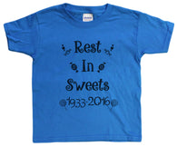 "Unisex-Big Kids 4-20 Gene Wilder Tribute ""Rest In Sweets"" Youth T-Shirt"