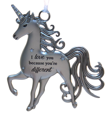 3 Inch Inspirational Zinc Unicorn Ornament - Because You're Different