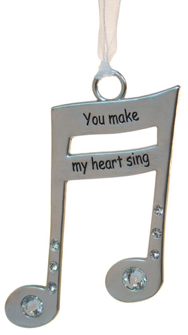 3 Inch Music Lover's Life Is Music Zinc Ornament - You Make My Heart Sing