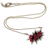 24 Inch Zinc Pop Art Necklace With Rhinestones And Enamel