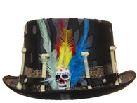 Black Voodoo Top Hat w/ Feathers, Skull & Faux Snake Band
