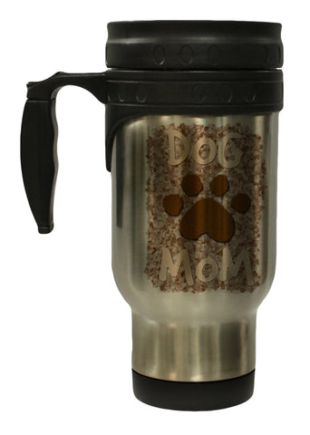 Dog Mom with Paw Print 12 Oz Stainless Steel Hot/ Cold Travel Mug