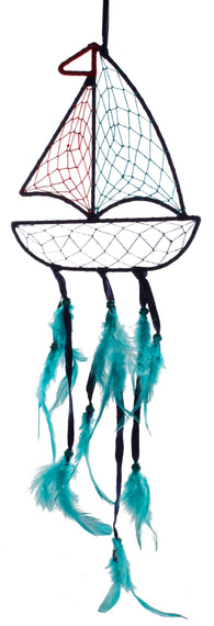 28 Inch Dark Blue Sailboat Shaped Nautical Dreamcatcher