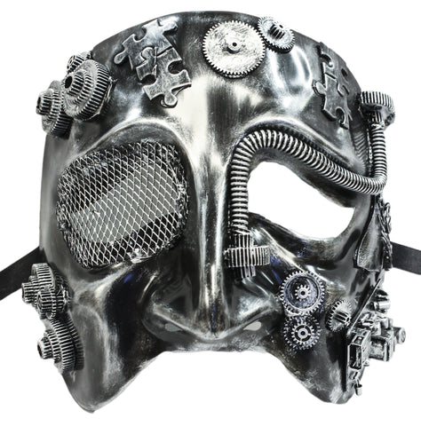 Steampunk Silver Tragedy Theatre Plaster Mask (75989)