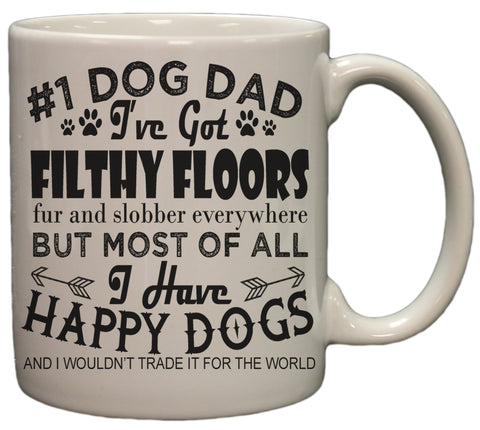 Dog Lovers #1 Dog Dad 11 Oz Ceramic Coffee Mug (Micro/DW Safe)