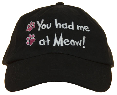 Unisex Adult You Had Me At Meow Embroidered Baseball Cap Hat