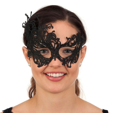 Jacobson Hat Company Lace Masquerade Mask with Satin Ribbon