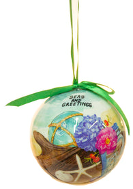 "Funny Nautical Christmas Ornament - 3 Inch Seaside Scene ""Seas and Greetings"""