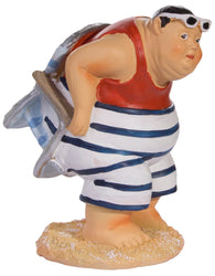 Funny Nautical Decoration- Chubby Man Stuck in Beach Chair Resin Figurine