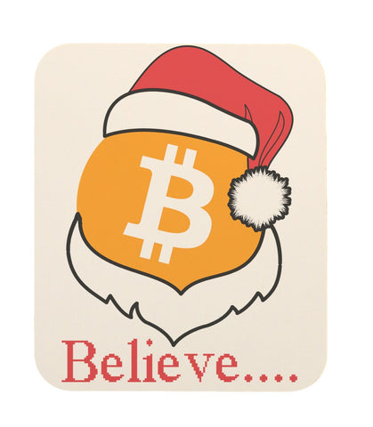 "Bitcoin Logo W/ Santa Hat ""Believe"" Mouse Pad"