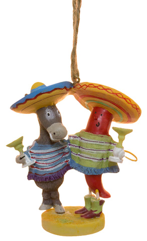 Chili Pepper and Burro Wearing Sombreros Holding Cocktails Ornament