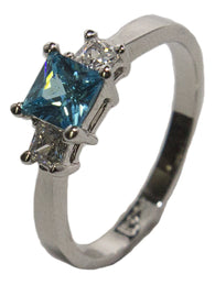 Women's Rhodium Plated Dress Ring Princess Cut Blue CZ 018