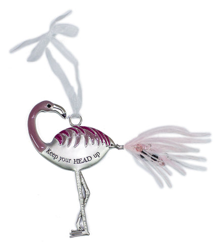 Ganz Inspirational Flamingo Zinc Ornament Collection -Keep your head up