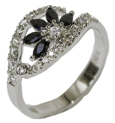 Women's Rhodium Plated Dress Ring Black and White CZ Flower 039