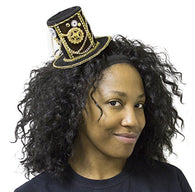 4 Inch Velvet Steampunk Top Hat Hair Clip with Gears and Chains