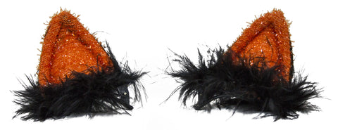 Halloween Costume Accessory - Flashing Furry Cat Ear Clip On Barrettes (Orange)