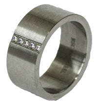 Men's Stainless Steel Dress Ring with CZ Channel 084