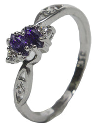 Women's Rhodium Plated Dress Ring White and Purple Marquise CZ 006