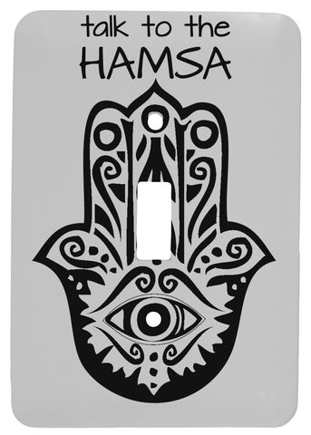 Talk to The Hamsa Yoga Design Single Toggle Metal Light Switch Cover