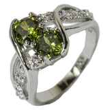 Women's Rhodium Plated Dress Ring Ornate Green and White CZ 040