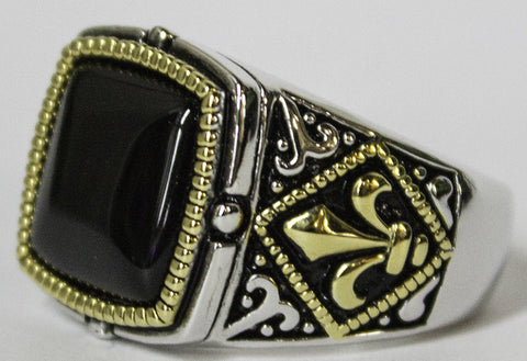 Men's Rhodium Plated Dress Ring Genuine Onyx and Fleur De Lis 065