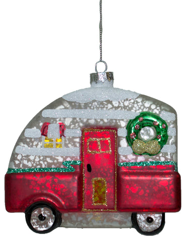 Christmas Camper Blown Glass Ornament With Glitter (Red)