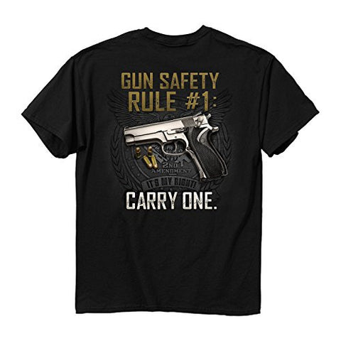 Buck Wear-Buck Wear Gun Safety Rule-Buck Wear on left breast Black