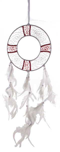 27.5 Inch Long White and Red Life Ring Shaped Nautical Dreamcatcher