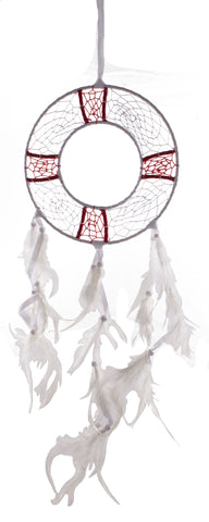 27 5 Inch Long White and Red Life Ring Shaped Nautical Dreamcatcher