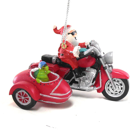 Santa on a Motorcycle, Turtle in Side Car Christmas Ornament