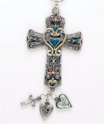 1 X CROSS Colorful Car Charm Ornmament with Dangles