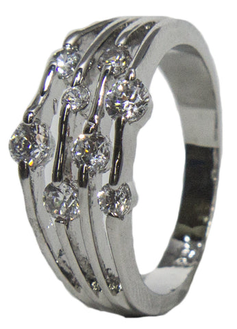 Women's Rhodium Plated Dress Ring Dew Drop Round Cut CZ 010