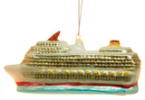 5 Inch Glittery Blown Glass Cruise Ship Christmas Ornament